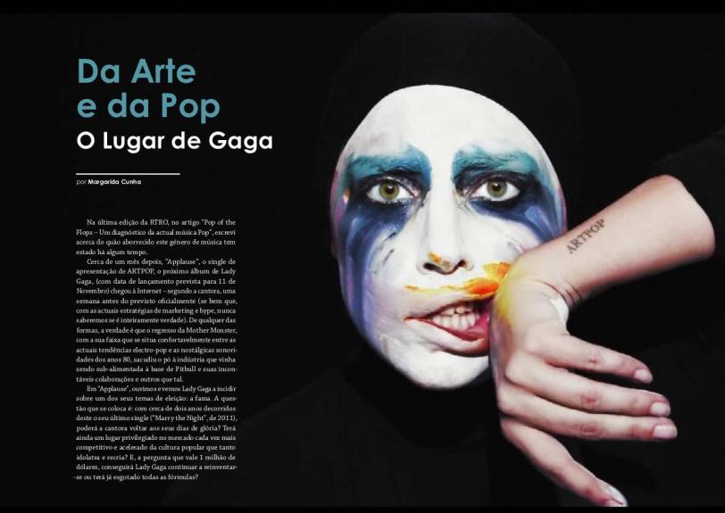 Excerto do artigo de fundo sobre Lady Gaga, presente na RTRO #23, que será publicada brevemente