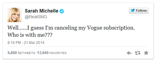 michelle gellar tweet vogue cover