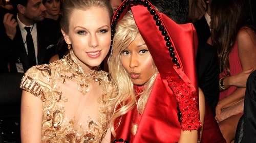 LOS ANGELES, CA - FEBRUARY 12:  Taylor Swift and Nicki Minaj attend The 54th Annual GRAMMY Awards at Staples Center on February 12, 2012 in Los Angeles, California.  (Photo by Kevin Mazur/WireImage)